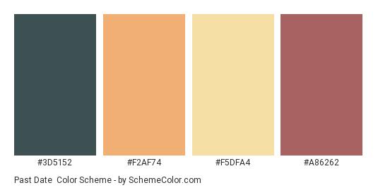 Past Date - Color scheme palette thumbnail - #3D5152 #F2AF74 #F5DFA4 #A86262
