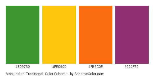 Most Indian Traditional - Color scheme palette thumbnail - #3D9730 #FEC60D #FB6C0E #902F72