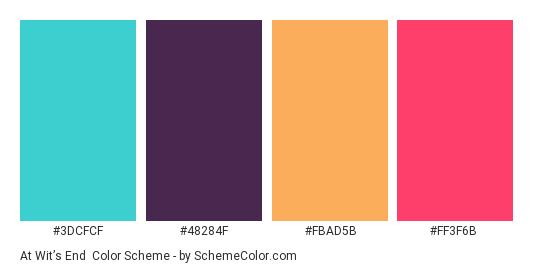 At Wit's End - Color scheme palette thumbnail - #3DCFCF #48284F #FBAD5B #FF3F6B