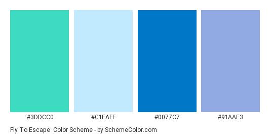 Fly to Escape - Color scheme palette thumbnail - #3DDCC0 #C1EAFF #0077C7 #91AAE3