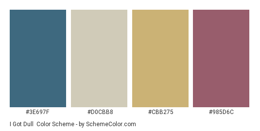 I Got Dull - Color scheme palette thumbnail - #3E697F #D0CBB8 #CBB275 #985D6C