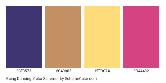 Going Dancing - Color scheme palette thumbnail - #3F3573 #C49062 #FFDC7A #D44482