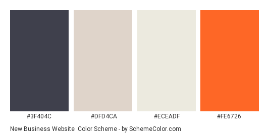 New Business Website - Color scheme palette thumbnail - #3F404C #DFD4CA #ECEADF #FE6726
