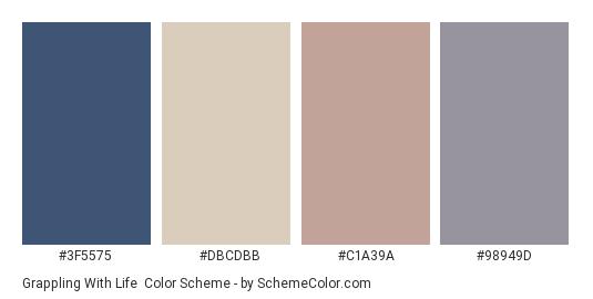 Grappling with Life - Color scheme palette thumbnail - #3F5575 #DBCDBB #C1A39A #98949D