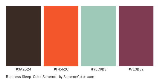 Restless Sleep - Color scheme palette thumbnail - #3a2b24 #f4562c #9ec9b8 #7e3b52