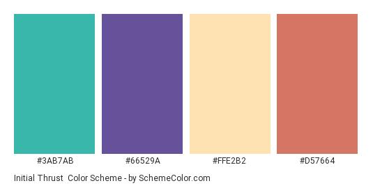 Initial Thrust - Color scheme palette thumbnail - #3ab7ab #66529a #ffe2b2 #d57664