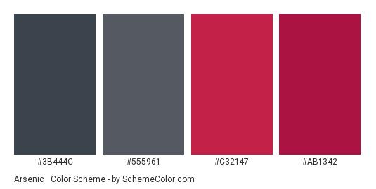 Arsenic & Maroon - Color scheme palette thumbnail - #3b444c #555961 #c32147 #ab1342