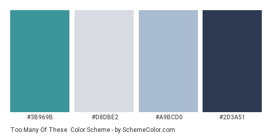 Too Many of These - Color scheme palette thumbnail - #3b969b #D8DBE2 #A9BCD0 #2d3a51