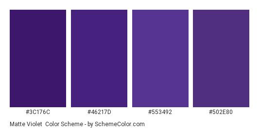 Matte Violet - Color scheme palette thumbnail - #3c176c #46217d #553492 #502e80