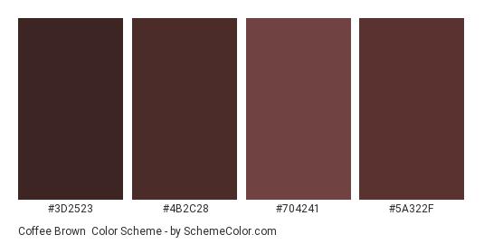 Coffee Brown - Color scheme palette thumbnail - #3d2523 #4b2c28 #704241 #5a322f