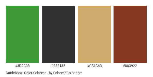 Guidebook - Color scheme palette thumbnail - #3d9c38 #333132 #cfac6d #883922