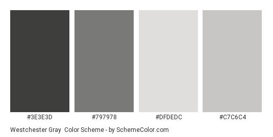 Westchester Gray - Color scheme palette thumbnail - #3e3e3d #797978 #dfdedc #c7c6c4