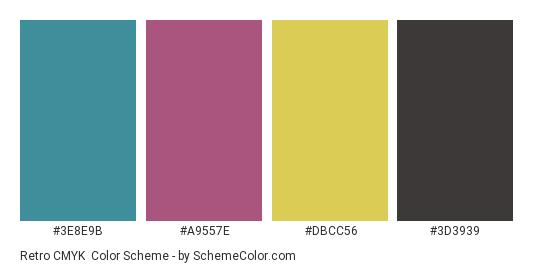 Retro CMYK - Color scheme palette thumbnail - #3e8e9b #a9557e #dbcc56 #3d3939