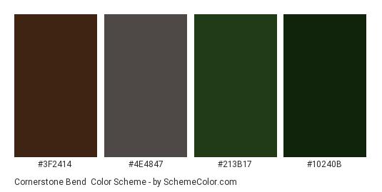 Cornerstone Bend - Color scheme palette thumbnail - #3f2414 #4e4847 #213b17 #10240b