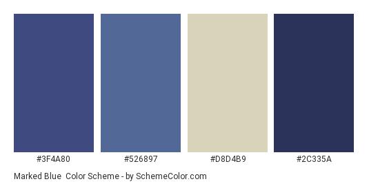 Marked Blue - Color scheme palette thumbnail - #3f4a80 #526897 #d8d4b9 #2c335a