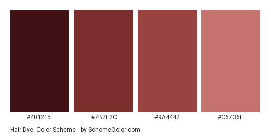 Hair Dye - Color scheme palette thumbnail - #401215 #7b2e2c #9a4442 #c6736f