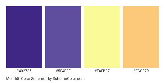 Month5 - Color scheme palette thumbnail - #402785 #5F4E9E #FAFB97 #FCC97B