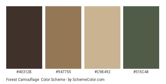 Forest Camouflage - Color scheme palette thumbnail - #40312b #947755 #c9b492 #515c48