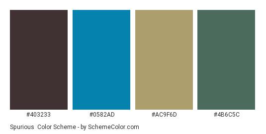 Spurious - Color scheme palette thumbnail - #403233 #0582ad #ac9f6d #4b6c5c