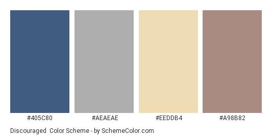 Discouraged - Color scheme palette thumbnail - #405c80 #aeaeae #eeddb4 #a98b82