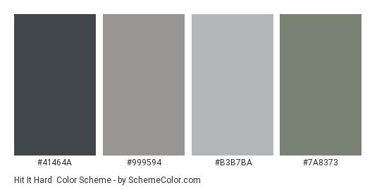 Hit it Hard - Color scheme palette thumbnail - #41464A #999594 #B3B7BA #7A8373