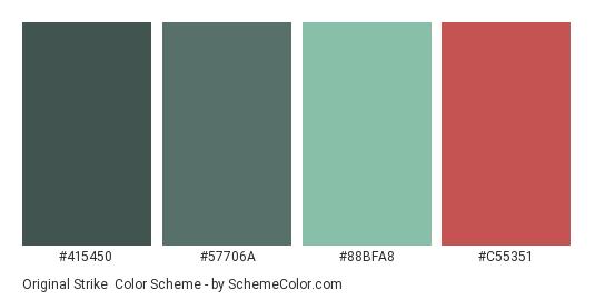 Original Strike - Color scheme palette thumbnail - #415450 #57706a #88bfa8 #c55351