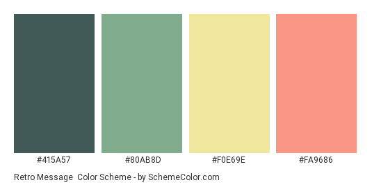 Retro Message - Color scheme palette thumbnail - #415A57 #80AB8D #F0E69E #FA9686
