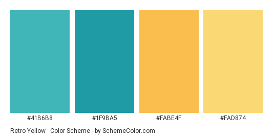 Retro Yellow & Blue - Color scheme palette thumbnail - #41B6B8 #1F9BA5 #FABE4F #FAD874