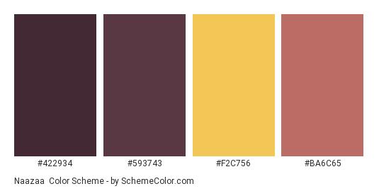 Naazaa - Color scheme palette thumbnail - #422934 #593743 #F2C756 #BA6C65