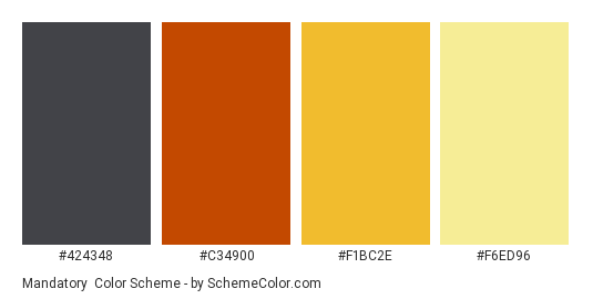 Mandatory - Color scheme palette thumbnail - #424348 #C34900 #F1BC2E #F6ED96