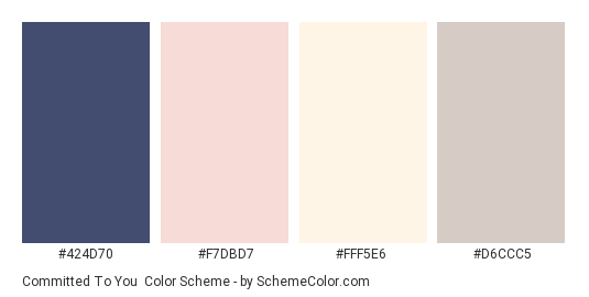 Committed To You - Color scheme palette thumbnail - #424D70 #F7DBD7 #FFF5E6 #D6CCC5