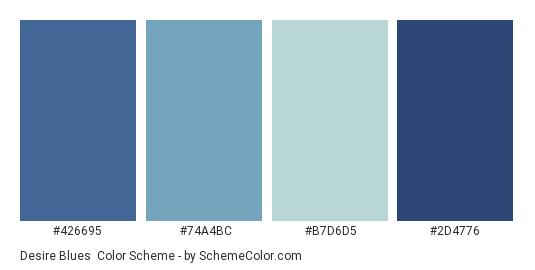Desire Blues - Color scheme palette thumbnail - #426695 #74a4bc #b7d6d5 #2d4776