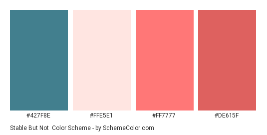 Stable But Not - Color scheme palette thumbnail - #427F8E #FFE5E1 #FF7777 #DE615F