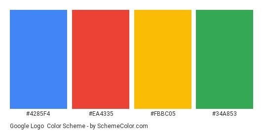 Google Logo - Color scheme palette thumbnail - #4285F4 #EA4335 #FBBC05 #34A853