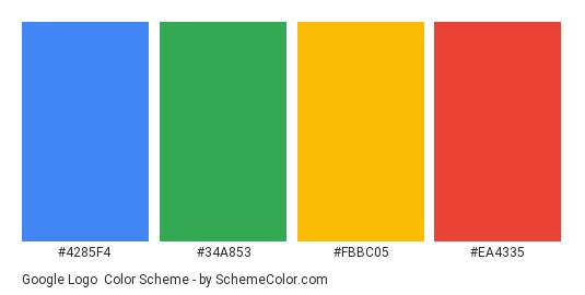 Google Logo - Color scheme palette thumbnail - #4285f4 #34a853 #fbbc05 #ea4335