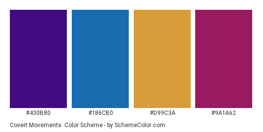 Covert Movements - Color scheme palette thumbnail - #430b80 #186cb0 #d99c3a #9a1a62