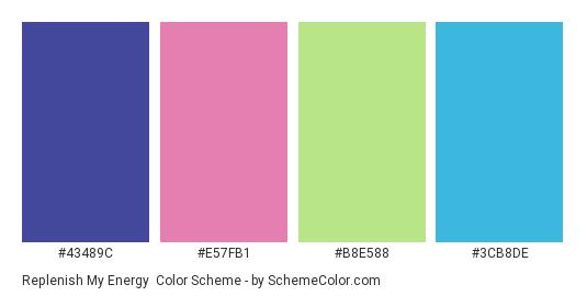 Replenish My Energy - Color scheme palette thumbnail - #43489C #E57FB1 #b8e588 #3cb8de