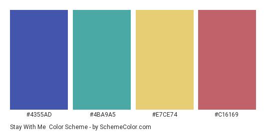 Stay With Me - Color scheme palette thumbnail - #4355AD #4BA9A5 #E7CE74 #C16169