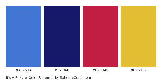 It's a Puzzle - Color scheme palette thumbnail - #4376D4 #151968 #C21D43 #E3BD32