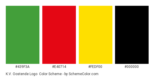 K.V. Oostende Logo - Color scheme palette thumbnail - #439f3a #e40714 #fedf00 #000000