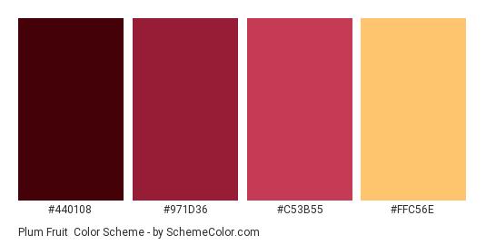 Plum Fruit - Color scheme palette thumbnail - #440108 #971D36 #C53B55 #FFC56E