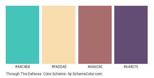 Through the Defense - Color scheme palette thumbnail - #44c4bb #faddae #a86c6e #644d75