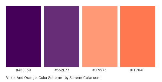 Violet and Orange - Color scheme palette thumbnail - #450059 #662E77 #ff9976 #FF784F