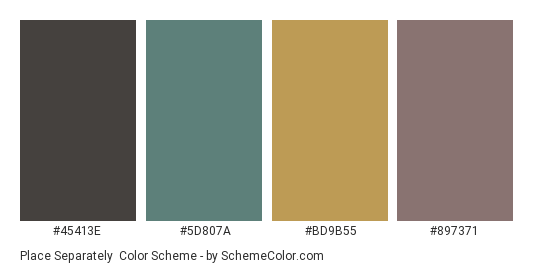 Place Separately - Color scheme palette thumbnail - #45413e #5d807a #bd9b55 #897371