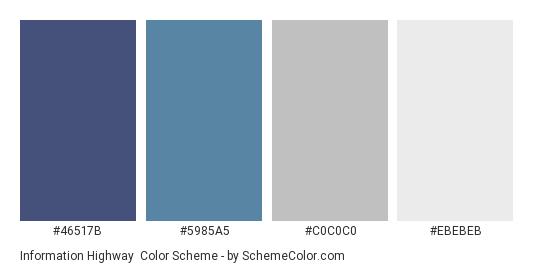 Information Highway - Color scheme palette thumbnail - #46517B #5985A5 #C0C0C0 #EBEBEB