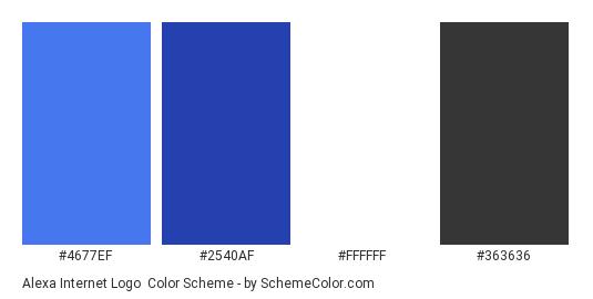 Alexa Internet Logo - Color scheme palette thumbnail - #4677ef #2540af #ffffff #363636