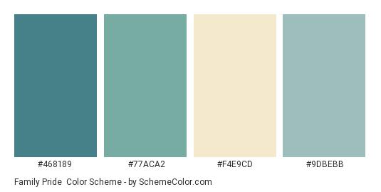 Family Pride - Color scheme palette thumbnail - #468189 #77ACA2 #F4E9CD #9DBEBB