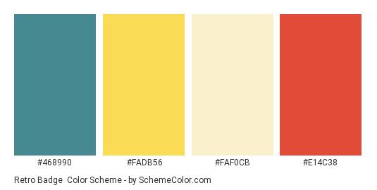 Retro Badge - Color scheme palette thumbnail - #468990 #fadb56 #faf0cb #e14c38