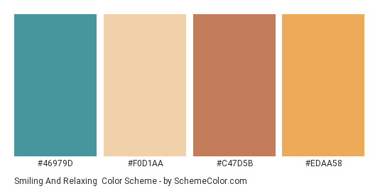 Smiling and Relaxing - Color scheme palette thumbnail - #46979d #f0d1aa #c47d5b #edaa58