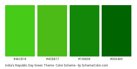 India's Republic Day Green Theme - Color scheme palette thumbnail - #46CB18 #4CBB17 #138808 #006400